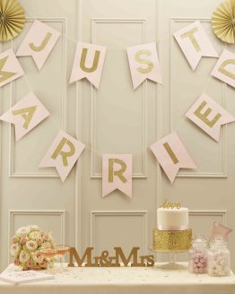 "Girlande ""Just Married"" Rosa-Gold"