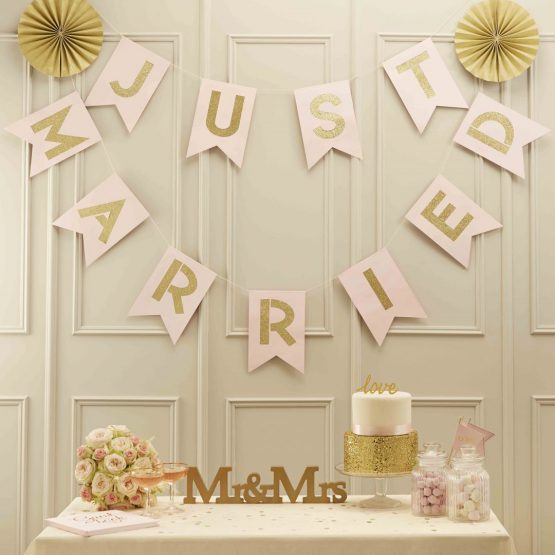 """Girlande """"Just Married"""" Rosa-Gold"""